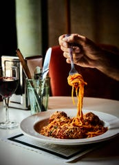 The spaghetti and meatballs at Karl's Coffee Shop is made with marinara, duck and chicken and Parmesan.