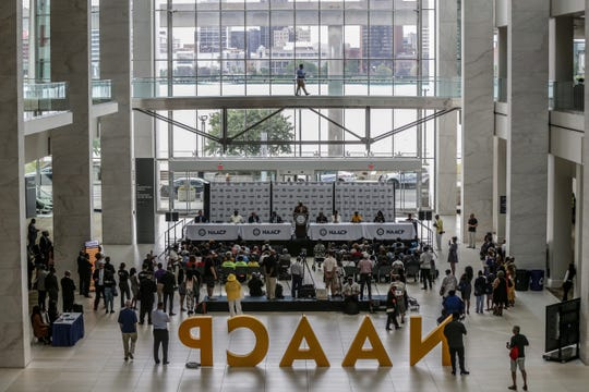 The opening press conference at NAACP's 110th National Convention was held at Cobo Center's River Atrium in Detroit on Saturday, July 20, 2019.