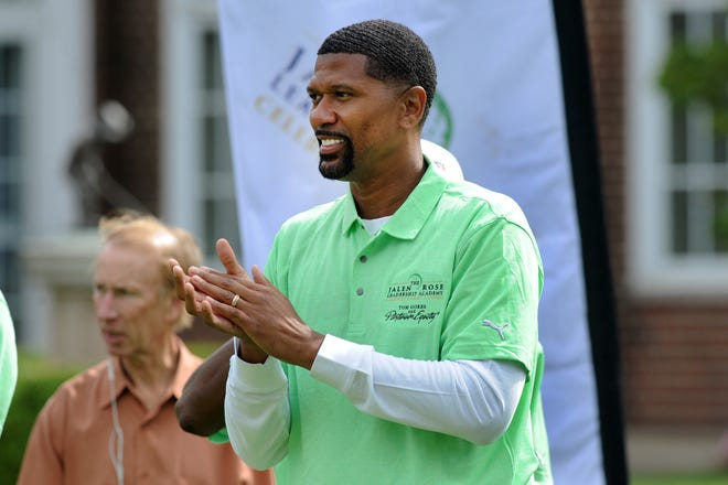 Former Michigan star and NBA player Jalen Rose cheers during Monday's opening ceremony at the Jalen Rose Leadership Academy Celebrity Golf Classic at the Detroit Golf Club.