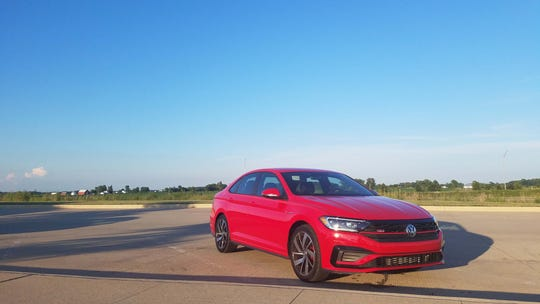 The 2019 VW Jetta GLI on the long, flat, 300-mile trip to Indy from Detroit. The seats were comfortable, the Apple CarPlay nav unflappable, and the turbo-4 sippy.