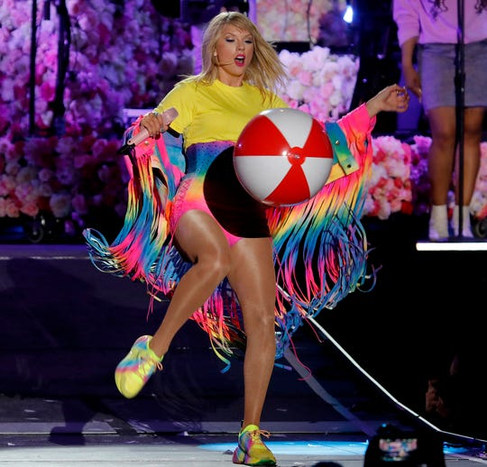 Taylor Swift kicks a beach ball during a performance at Wango Tango 2019 at the Dignity Health Sports Park in Carson, Calif. on June 1, 2019. Swift will perform at the MTV Video Music Awards.