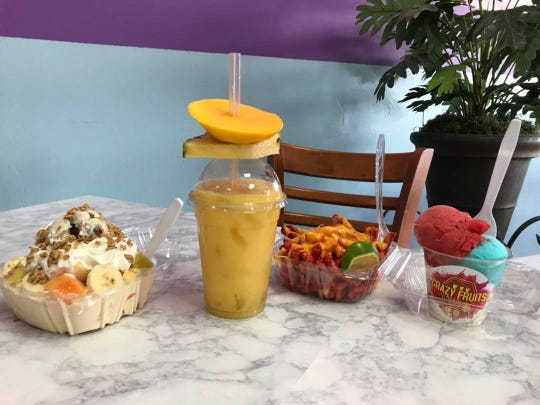 Crazy Fruits specializes in sweet and savory treats, often combining the two with an optional touch of spice.