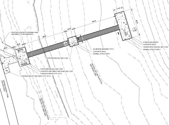 Sketch of the future handicap accessible pier in Potawatomi State Park.