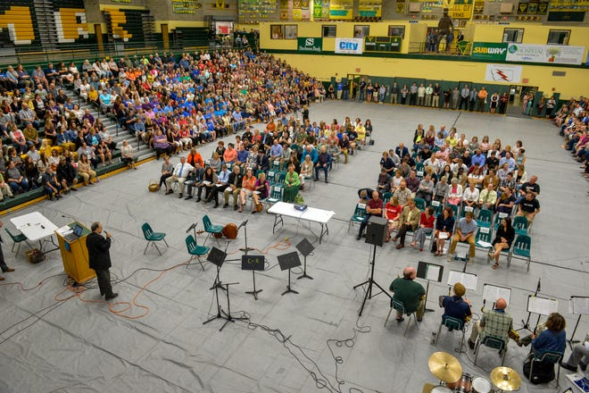 Great Falls Public Schools faculty and staff attend the convocation kicking off the 2019-2020 school year, Monday morning in the CMR Fieldhouse.