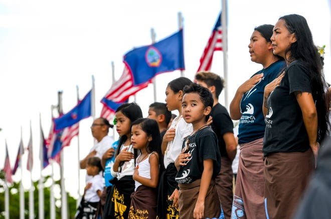 The Inifresi, or Guam Pledge, is recited during the start of the Na'lå'la': Songs of Freedom, Vol. 3 concert at Adelup in this July 4, 2019, file photo. Guam likely will not know the fate of its plebiscite appeal until April 27.