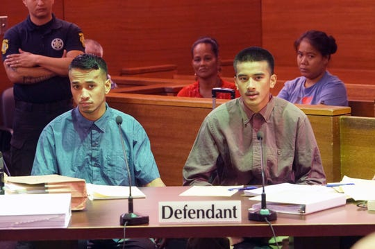 Brothers Jordan Rachulap, left and Emmanuel Reselap, right, appeared in court for the start of their trial on Aug. 26, 2019.  Both men are charged in the June 4 machete attack in Mangilao.