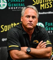 Southern Miss Golden Eagles Head Coach Jay Hopson answers questions during a press conference Aug. 26, 2019.