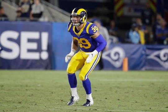 Los Angeles Rams defensive back Jake Gervase (39) during an NFL preseason football game against the Denver Broncos, Saturday, Aug. 24, 2019, in Los Angeles.