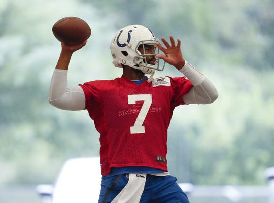 Indianapolis Colts quarterback Jacoby Brissett (7) during their practice at the Colts Complex on Monday, Aug 26, 2019.