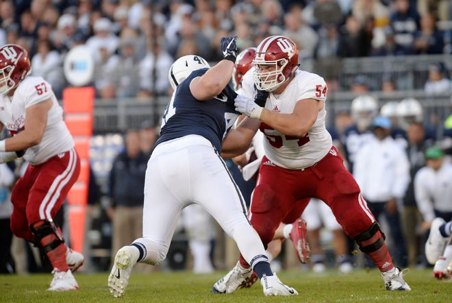 STATE COLLEGE, PA - SEPTEMBER 30:  Indiana OL Coy Cronk (54) blocks. The Penn State Nittany Lions defeated the Indiana Hoosiers 45-14 on September 2, 2017 at Beaver Stadium in State College, PA. (Photo by Randy Litzinger/Icon Sportswire) (Icon Sportswire via AP Images)