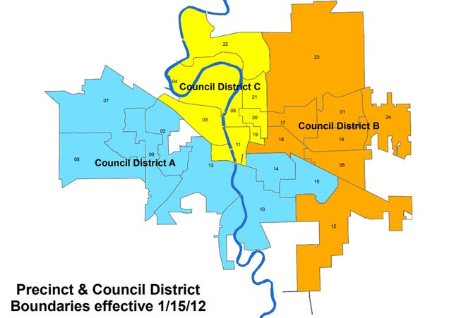 Candidates running for Iowa City Council can fun from the district they live in or choose to run for an at-large seat.