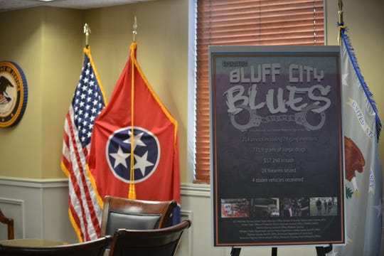 "The ""Bluff City Blues"" Operation led to 214 arrests and the seizure of 771.9 grams of illegal drugs, $17,240 in cash, 28 firearms and four vehicles."