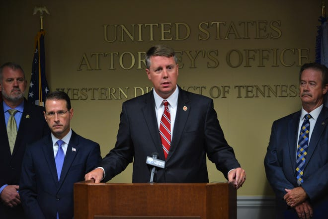 """District Attorney General Jody Pickens speaks during a news conference about the """"Bluff City Blues"""" Operation."""