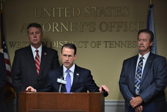 """United States District Attorney D. Michael Dunavant speaks during a news conference to discuss the """"Bluff City Blues"""" Operation."""