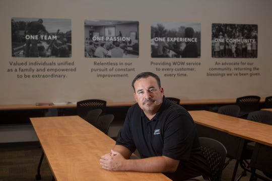 Josh Smith, CEO of Master Service Companies  at the company headquarters on Monday, August 26, 2019. Printed on the wall are the company values.