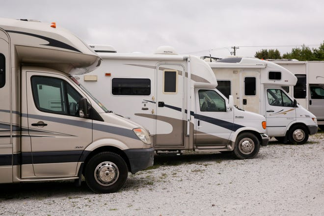 A row of campers at Happy Campers RV sales & service, Monday, Aug. 26, 2019 in Lafayette.