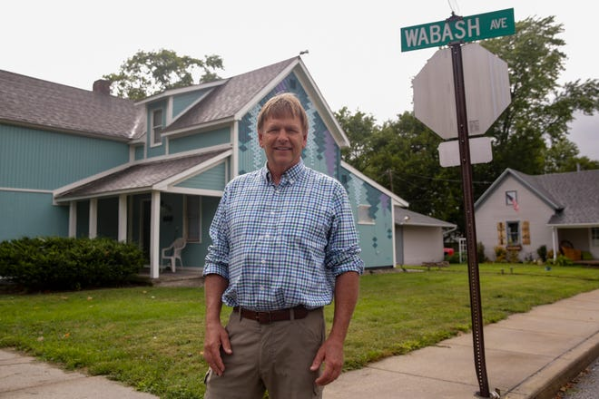 Doug Taylor, director of Habitat for Humanity of Lafayette, poses for a photo along Wabash ave., Monday, Aug. 26, 2019 in Lafayette. After 35 years, Taylor, will retire after 35 years from the nonprofit housing organization.