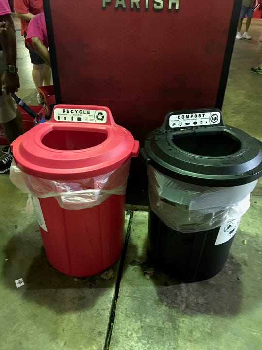 Color coded waste bins will be on the concourses during Ragin' Cajun football games.