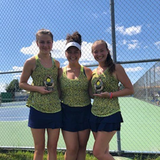 The Lancaster girls' tennis team won the Teays Valley Invitational. Pictured from left to right are three Lady Gales' players who helped them to the victory: Mallory Thomas, Cara Falvo and Sarah Hoffman-Weitsman.