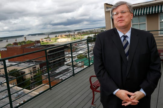 Mayor Jim Strickland on the rooftop of the Commercial Appeal offices in downtown Memphis on Monday, Aug. 26, 2019.