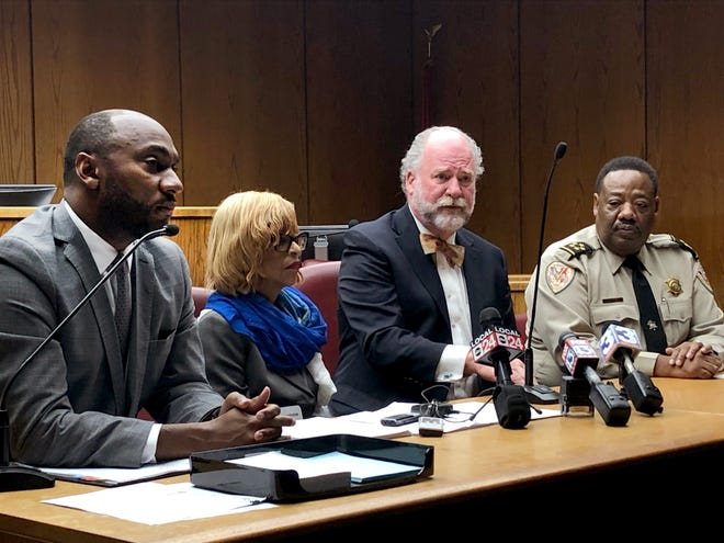Shelby County Mayor Lee Harris, Juvenile Court Clerk Janis Fullilove, Juvenile Court Judge Dan Michael and Sheriff Floyd Bonner discuss the elimination of fees they are not mandated by state law to charge juveniles