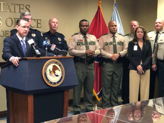 "U.S.Attorney D. Michael Dunavant announced the results of a multi-agency  sting called Operation ""Bluff City Blues"" alongside other law enforcement officials on Monday."