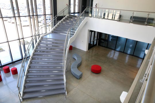 A grand staircase in the Herzfeld Atrium connects the first and second floors of the Milwaukee Ballet's new Baumgartner Center for Dance at 128 N. Jackson St.