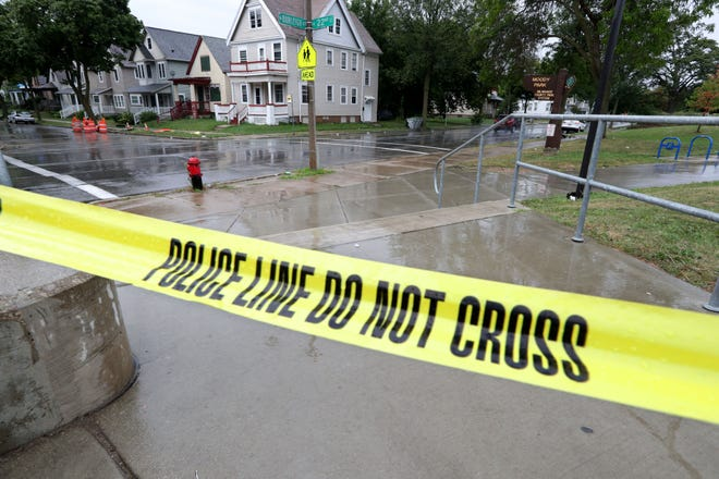 Police tape remains at the scene of a fatal shooting of a 20-year-old woman  near Moody Park in the 2300 block of WestBurleighStreet in Milwaukee on Monday, Aug. 26, 2019.  The Milwaukee County Medical Examiner's Office was notified of the fatal shooting shortly after 8:30 p.m. Sunday, according to an official at the office.