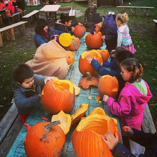 Children carve some of the pumpkins that will light up the night at the Bay View Pumpkin Pavilion.