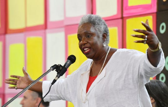 Sharon Hurt, speaks at a forum for the 8 at-large Metro Nashville runoff candidates at the Nashville Farmers' Market on Aug. 25. Hurt led all candidates in Thursday's runoff election to retain her council seat.