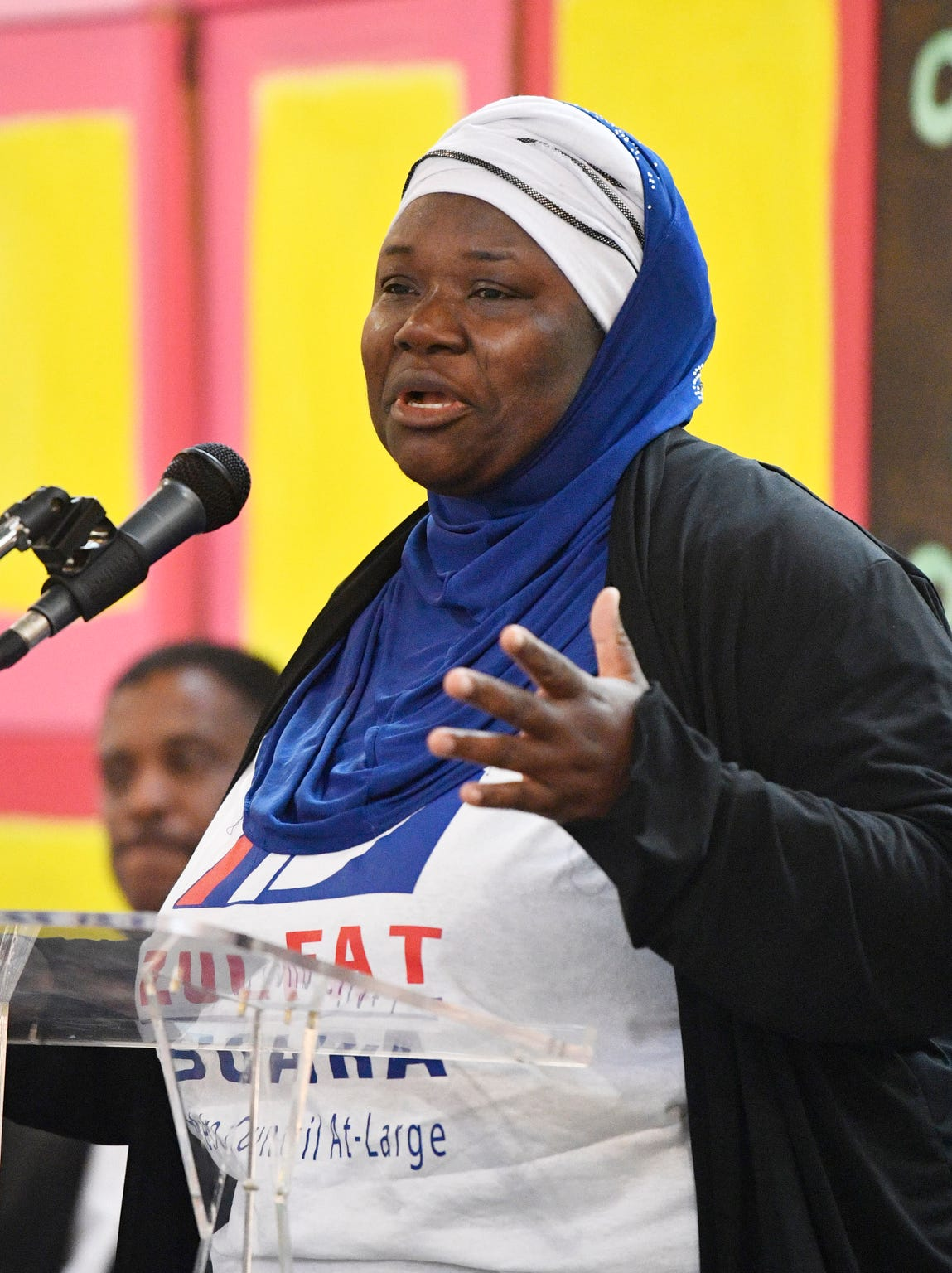 Zulfat Suara, 2019 candidate for Nashville-Davidson County At-Large Metro Council speaks at a forum for the 8 at-large Metro Nashville runoff candidates at the Nashville Farmers Market. Sunday, Aug. 25, 2019, in Nashville, Tenn.