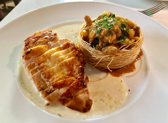 Moroccan chicken in feta-mornay sauce, with bisteeya — chicken tagine in a phyllo nest at Santo in Green Hills.