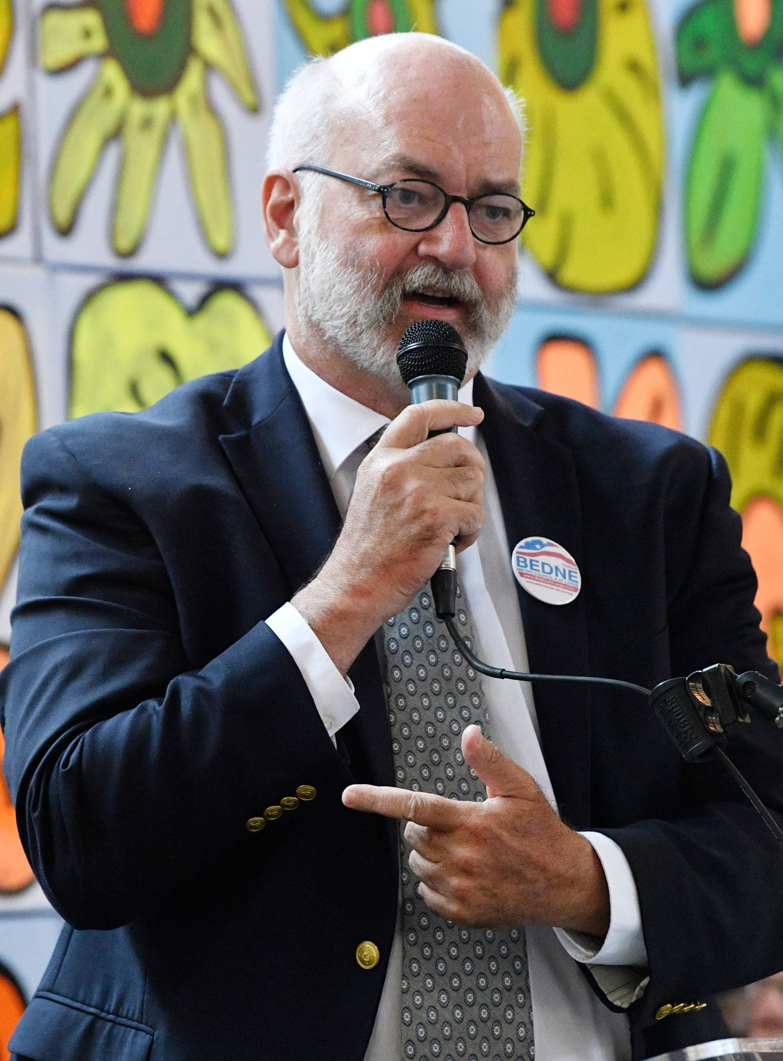 Fabian Bedne, 2019 candidate for Nashville-Davidson County At-Large Metro Council speaks at a forum for the 8 at-large Metro Nashville runoff candidates at the Nashville Farmers Market. Sunday, Aug. 25, 2019, in Nashville, Tenn.