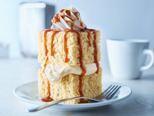 "Nancy Butcher's award-winning ""Double Decker Banana Crème Cake."""