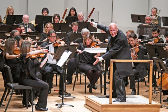 Las Cruces Symphony Orchestra conductor Lonnie Klein leads a concert on May 5, 2019.