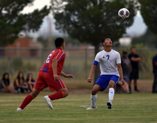 Carlsbad's Louis Ruiz waits for the ball to make a pass against the Las Cruces High Bulldawgs on Tuesday night.  Photo taken 8/20/19.