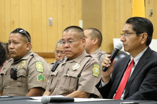 Navajo Nation President Jonathan Nez, right, talks about the memorandum of understanding the tribe signed with Central Consolidated School District for a school resource officer program during a signing ceremony on Aug. 26 in Shiprock.