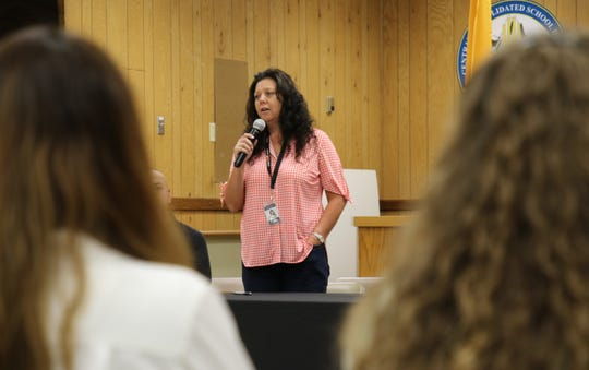 Candice Thompson, director of operations for Central Consolidated School District, talks about the school district's school resource officer program and the agreement with the Navajo Nation on Aug. 26 in Shiprock.