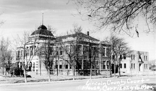 The Lincoln County Courthouse after Carrizozo usurped the settlement of Lincoln to become the county seat. The building was torn down to make way for a more modern one-story structure.