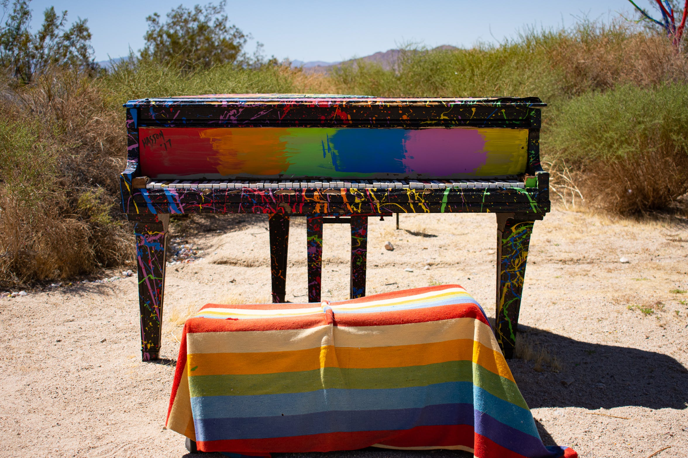 A piano painted by Patrick Hasson at Rancho De Colores on Aug. 20, 2019.