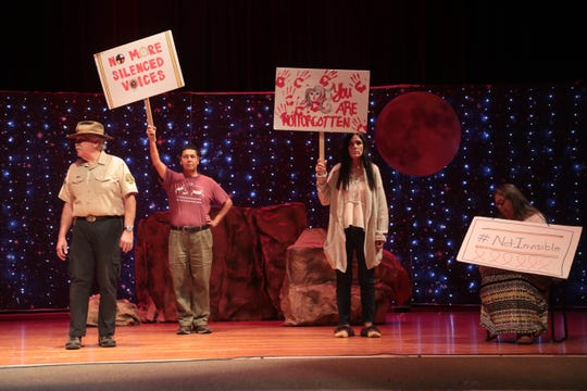 A rehearsal for Menil and Her Heart: A Cahuilla Play at Sherman Indian High School takes place in Riverside, Calif. on Friday, August 23, 2019.