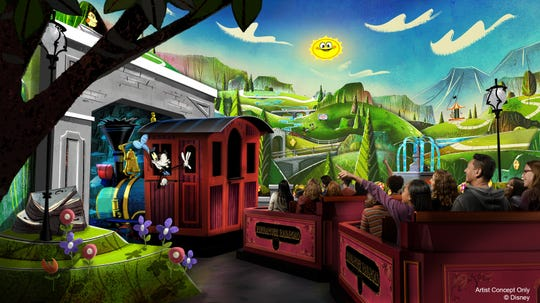 Disneyland Park guests will be able to step into a cartoon world and join Mickey and his friends on Mickey & MinnieÕs Runaway Railway, coming to MickeyÕs Toontown in 2022. This first major Mickey-themed ride-through attraction at Disneyland park will put guests inside the wacky and unpredictable world of a Mickey Mouse Cartoon Short where anything can happen. Once guests step into the cartoon world of Mickey and Minnie, they will board a train with Goofy as the engineer. Then, one magical moment after the next leads to a zany, out-of-control adventure filled with surprising twists and turns. Disneyland Resort is located in Anaheim, Calif. (Disneyland Resort)