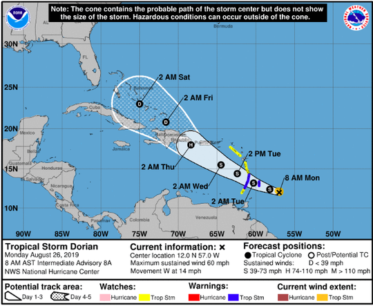 Tropical Storm Dorian is expected to become a hurricane by Thursday.