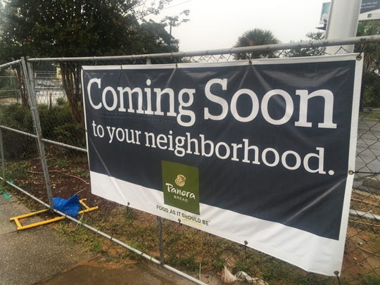 "A ""coming soon"" signage for a new Panera Bread hangs in front of the construction site in Pensacola, Fla. A Panera may also be coming to Wichita Falls, located somewhere on Kemp Boulevard."