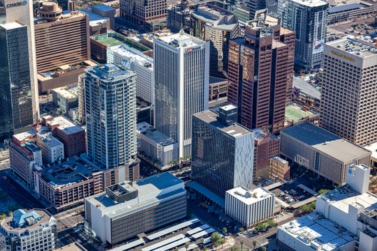 An aerial look at downtown Phoenix's U.S. Bank tower and other highrises