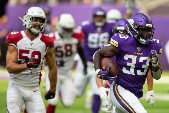 Minnesota Vikings running back Dalvin Cook (33) had an 85-yard touchdown run against the Arizona Cardinals.