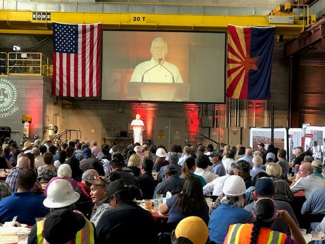 Salt River Project's Associate General Manager of Power Operations, John Coggins, spoke to workers at a farewell event at the Navajo Generating Station on Monday.