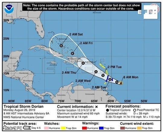 Avanza la tormenta tropical Dorian.