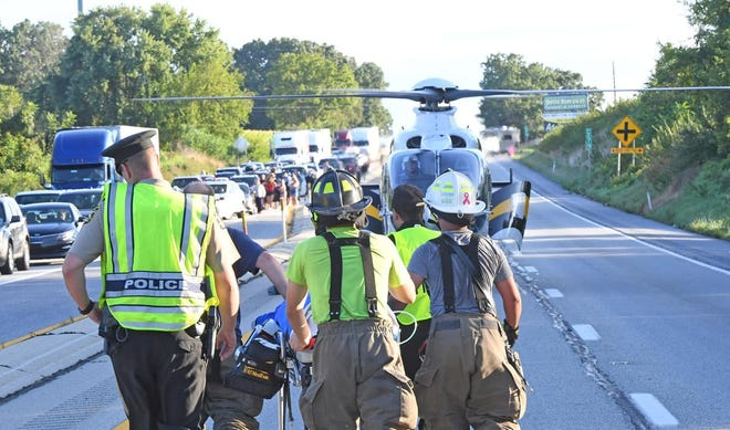 Emergency crews respond to a crash on Route 15 in Franklin Township Sunday, Aug. 25. An Adams County man was killed in the crash.