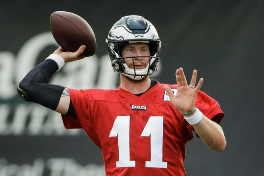 Philadelphia Eagles starting quarterback Carson Wentz, seen here throwing a pass during training camp, has been injured every year since his senior season of college.